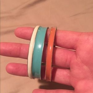 Coral turquoise and white bangles